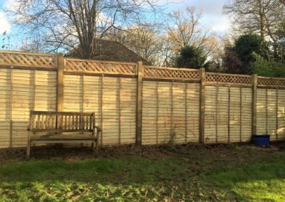 Post and overlap fencing with trellis
